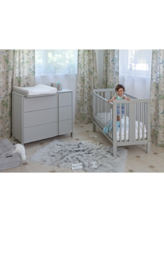 Light grey YappyStar baby cot and Light grey YappyClassic dresser